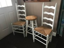 3 PIECE ANTIQUE SHABBY LADDER BACK RUSH CHAIRS AND STOOL in Morris, Illinois