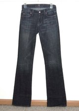7 for All Mankind Boot Cut Denim Jeans Womens Tag 25 Measures 26 x 34 Tall Long in Morris, Illinois