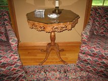 Antique 1920's - 1930's Wood Accent Table - Walnut or Mahogany Hexagon in DeKalb, Illinois