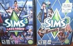 NEW Lot of 2 The Sims 3 Late Night Expansion Pack & Barnacle Bay PC DVD Game in Shorewood, Illinois