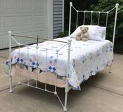 ANTIQUE BEDFRAME Twin Cast Iron White & Mattress in Glendale Heights, Illinois