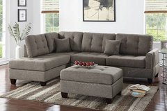 New Coffee Linen Fabric Sectional Sofa and Ottoman FREE DELIVERY in Vista, California