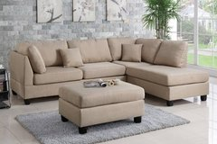 New! Beige Linen Sofa Sectional and Ottoman FREE DELIVERY in Vista, California