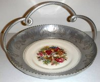 Vintage Limoges platter w/Stamped Aluminum Serving Basket / Tray in Joliet, Illinois