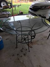 "Outside patio table with 45"" round bevelled glass top in Byron, Georgia"