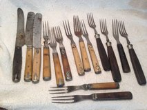 Lot of 15 civil war era knives forks wood bone handle 3 prong 4 prong in Fort Campbell, Kentucky