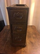 antique oak treadle sewing machine cabinet 3 drawers left side w/ frame in Chicago, Illinois