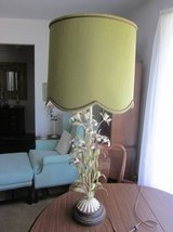 Italy Italian Tole Toleware Art Lamp Antique White Metal Flowers Green MCM Mid-Century Modern in Naperville, Illinois