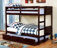 New! Twin and Twin Dark Walnut BunkBed Optional Trundle  FREE DELIVERY in Camp Pendleton, California