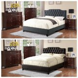 New! QUEEN Black OR Blue Gray Linen Tufted Bed FRAME FREE DELIVERY in Camp Pendleton, California