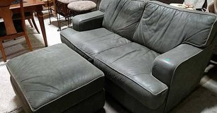 Green Genuine Leather Couch And Ottoman - Delivery Available in Fort Lewis, Washington