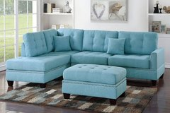 New Blue Linen Fabric Sectional Sofa and Ottoman FREE DELIVERY in Camp Pendleton, California