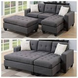 New! Blue Gray Mini Sectional+Ottoman Sofa FREE DELIVERY in Camp Pendleton, California
