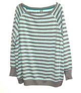 Womens 3X Xersion Long Sleeve Turquoise Gray Stripe Vented Athletic Top in Joliet, Illinois