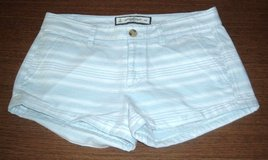 Womens 0 Abercrombie Fitch Baby Blue White Stripe Cuffed Shortie Shorts in Shorewood, Illinois