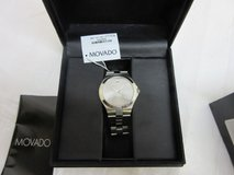 Movado silver dial stainless steel men's watch 0606556 sapphire lens new battery in Aurora, Illinois