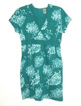 Womens Small Bold Spirit Green Floral Hooded Casual Sweatshirt Dress V Neck in Morris, Illinois