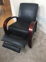 Black Steamer Recliner with Bent Wood Arms by Sam Moore Furniture(La-Z-Boy) in New Lenox, Illinois