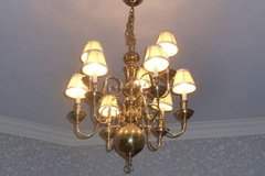 GORGEOUS 2 Tier, 9 BULB w/SHADES Gold Chandelier Light Fixture in Katy, Texas