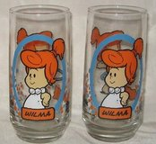 "NEW Vintage 1986 Flintstone Kids ""Wilma"" Glass Set of 2 from Pizza Hut in Morris, Illinois"