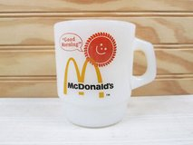 Vintage 80's Vintage Fire King McDonalds Coffee Mug Milk Glass Good Morning Sun Retro Cup in Yorkville, Illinois