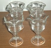 Vintage 4 Footed Dessert Cups Clear Glass Set Parfait IceCream Pudding Jello Lot in Morris, Illinois