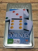 ONLY $1 NEW Cardinal Double 6 Color Dot Dominoes in Tin Classic Game 16 Different Games in Joliet, Illinois