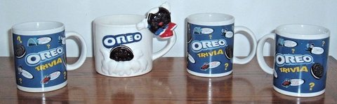 Lot of 4 Oreo Mugs 1 Large 3D Dipping 3 Trivia Nabisco Houston Harvest Kraft Cup in Shorewood, Illinois
