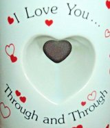 Vintage Papel I Love You Through and Through Cut Out Heart Shape Coffee Mug Cup in Shorewood, Illinois