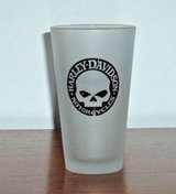 Harley Davidson Motorcycle Skeleton Frosted 16 oz Drinking Beer Pint Glass Cup in Morris, Illinois
