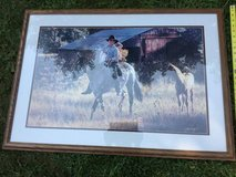 Framed artwork horse in field by  artist Tim Cox in Elgin, Illinois
