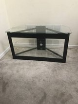 Three Level Black Wooden/Glass TV Stand in Plainfield, Illinois
