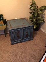 FANTASTIC!! Vintage side table/cabinet - repainted rustic turquoise in Fort Bliss, Texas