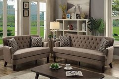New! Mocha Tufted Dorris Fabric Sofa + Loveseat FREE DELIVERY in Camp Pendleton, California
