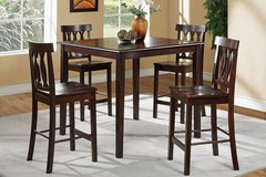 New! Espresso Counter Height Dining Set Table + 4 Chairs FREE DELIVERY in Miramar, California