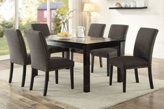 New! Wooden Dining Set Table + 6 Linen Chairs FREE DELIVERY in Camp Pendleton, California