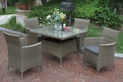 New! Tan Patio Outdoor Dining Table +4 Chairs + Umbrella FREE DELIVERY in Camp Pendleton, California
