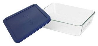 3 Pyrex rectangular baking/storage containers with blue lid in Cary, North Carolina