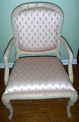 Chabby Chic Off white Wood Upholstered Arm Chair ~Wide Seat Accent in Lockport, Illinois