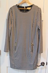 Michael Kors Black/White Houndstooth LS Sheath Dress, Lined, Gold Zippers, Sz 16 in Naperville, Illinois