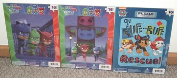 Lot of 3 NEW 16 Piece Puzzles Lot PJ Masks Paw Patrol Catboy Gekko Owlette Chase Marshall in Plainfield, Illinois