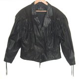 Vintage Bermans Lined Fringed Lace-Up Snap Front Leather Jacket Large Coat in Chicago, Illinois
