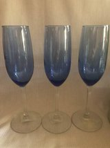 Three Champagne Flutes Glasses Blue cobalt in Joliet, Illinois