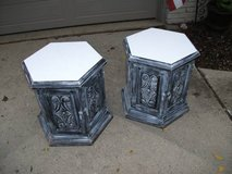 REDUCED...SET OF 2 END TABLES ALL WOOD ORNATE in Orland Park, Illinois