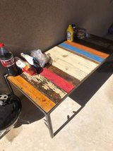 STUNNING solid wood rustic colorful table with metal legs in Fort Bliss, Texas