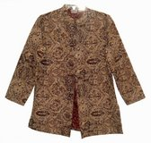Womens Medium 8 Chicos Beige Black Floral Tapestry Coat Chicos Size 1 Button Front Jacket in Joliet, Illinois