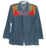 Womens Large Vintage Michael Mims Cathy Cole Faux Suede Color Block Zip Denim Jean Jacket in Yorkville, Illinois