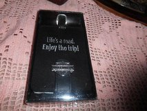 """New Black Leather HARLEY DAVIDSON """"Life's a Road...Enjoy the Trip"""" Luggage Tag! MINT in Spring, Texas"""