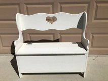 Small Solid Wood White Bench with Storage in Travis AFB, California