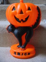 Vintage Plastic Blow Mold Black Cat w/ Jack O' Lantern in Fort Carson, Colorado